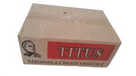 Box of Titus Sardines Vegetable Oil, 13.7lbs 50X4.375oz